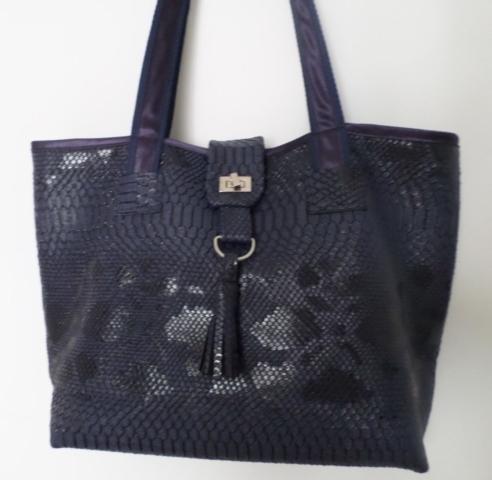 fait main - modèle unique - sac cabas cuir synthétique intérieur coton