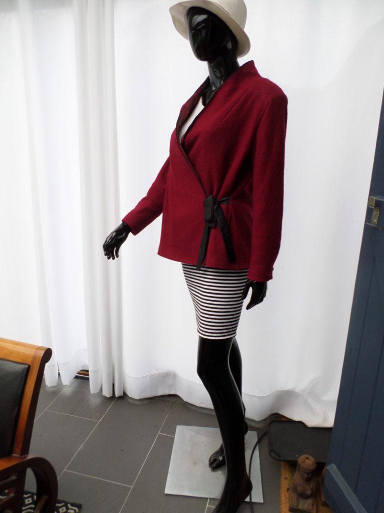 veste croisée laine bouillie rouge bordeaux